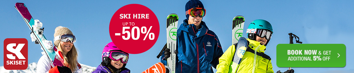 We offer a discount offer on ski equipment rental of up to -50%. Book Now. Photo: ©S.Candé /Skiset